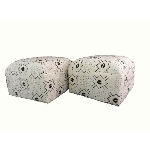 White & Black Mud Cloth Ottomans - A Pair - Image 3 of 9