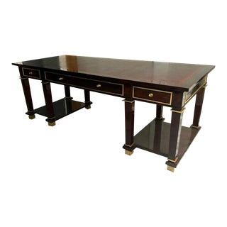 Jacques Adnet Exceptional Neoclassic Large President Desk With Leather Top For Sale