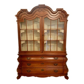 Henredon Dorothy Draper Viennese Bombe China Cabinet in Walnut For Sale
