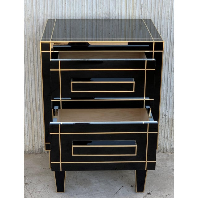New Pair of Mirrored Nightstands in Black Mirror With Two Drawers For Sale In Miami - Image 6 of 13