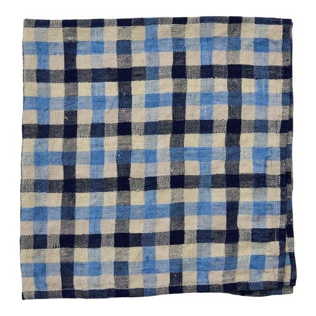 Deborah Rhodes Checkerboard Napkins, Pool Blue/Navy, Set of 4 For Sale
