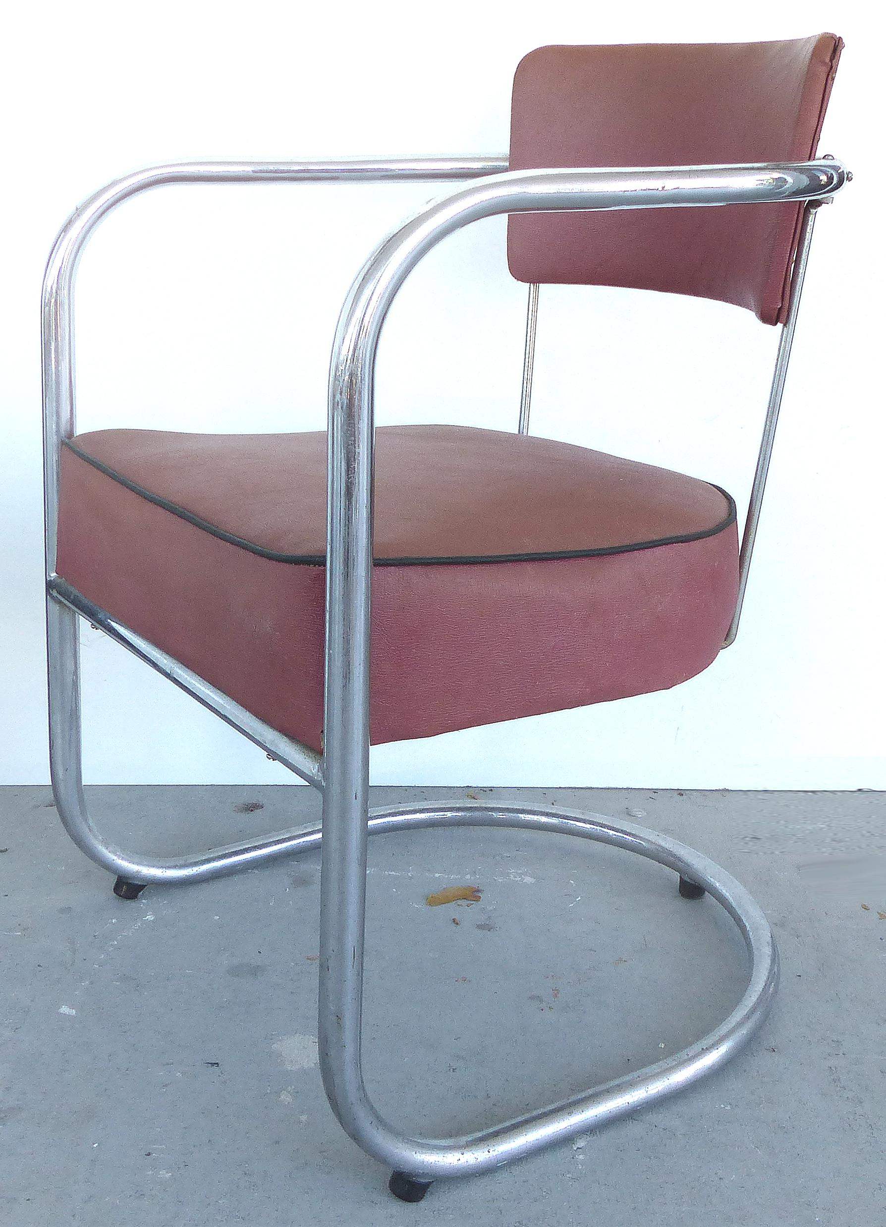 A Set Of Four Art Deco Cantilever Chrome Frame Chairs By Lloyd Loom. The  Chairs