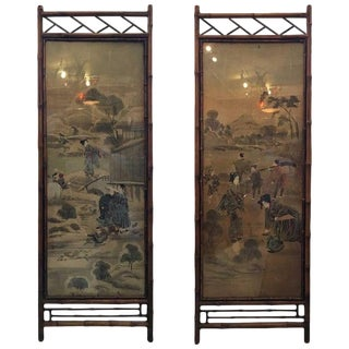 Bamboo Framed Scenic Painted Silk Panels - a Pair For Sale