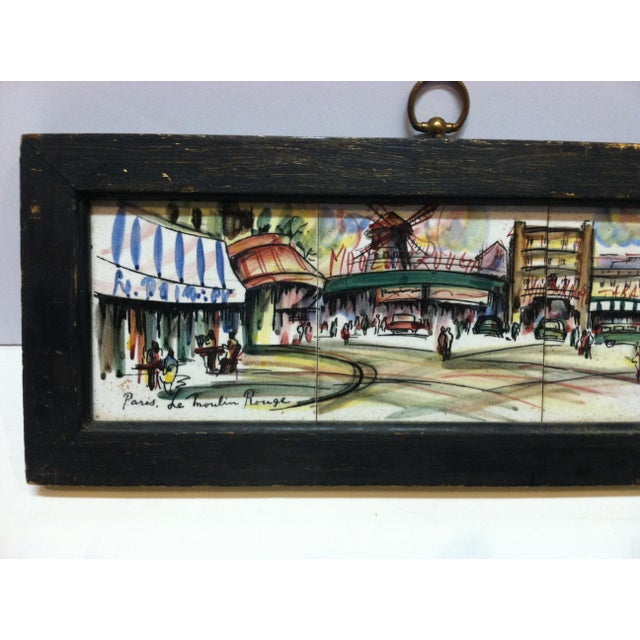 """This is a Framed Original Painting on Tiles that is titled """"Paris - Le Moulin Rouge"""" by Renee""""."""