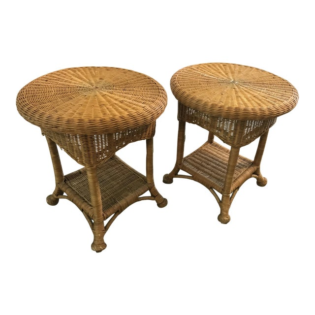 Vintage Wicker Side Tables with Glass Tops - A Pair For Sale