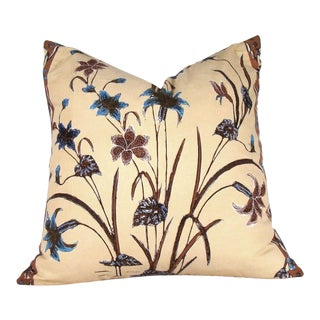 Indonesian Floral Batik Pillow Cover For Sale