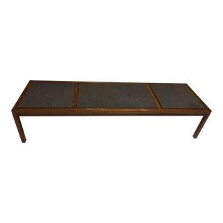 Coffee Table, Slate & Walnut For Sale