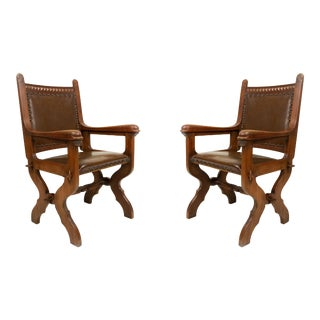 English Gothic Walnut and Leather Armchairs For Sale