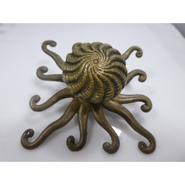 Hollywood Regency Antique Octopus/Squid Drawer Handles - Set of 4 For Sale - Image 3 of 9