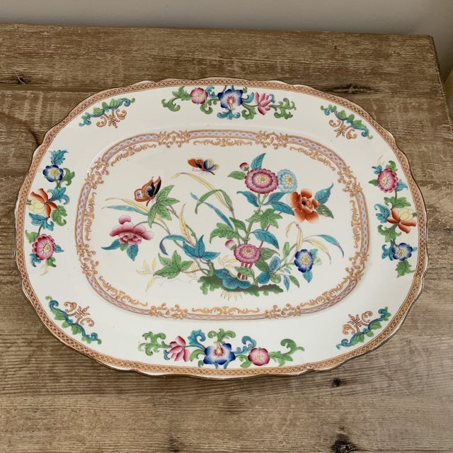 Pink Antique English Minton Chinoiserie Platter For Sale - Image 8 of 8