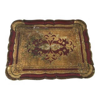 Midcentury Florentine Gilded Decor Tray For Sale