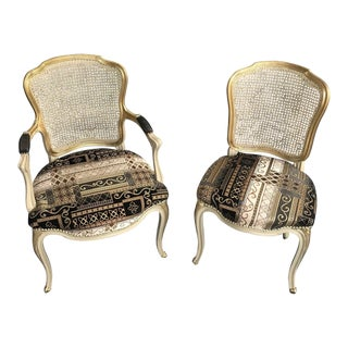 1960s Vintage French Carved Cane Back Arm Chairs - a Pair For Sale