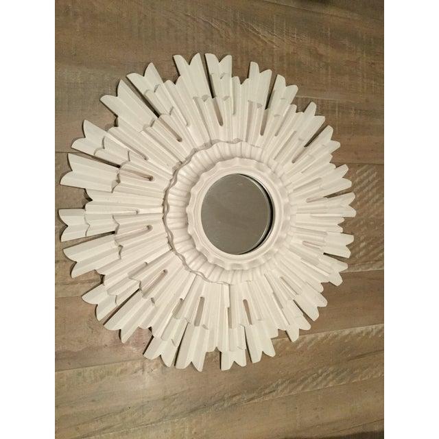 Ethan Allen Ethan Allen White Sunburst Mirror For Sale - Image 4 of 4