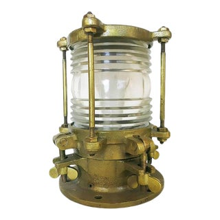 1920s Bronze Piling Nautical Dock Light With Fresnel Lens For Sale