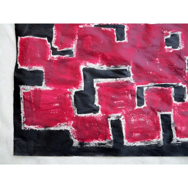 Alaina Bold Abstract Red Black Painting - Image 6 of 11