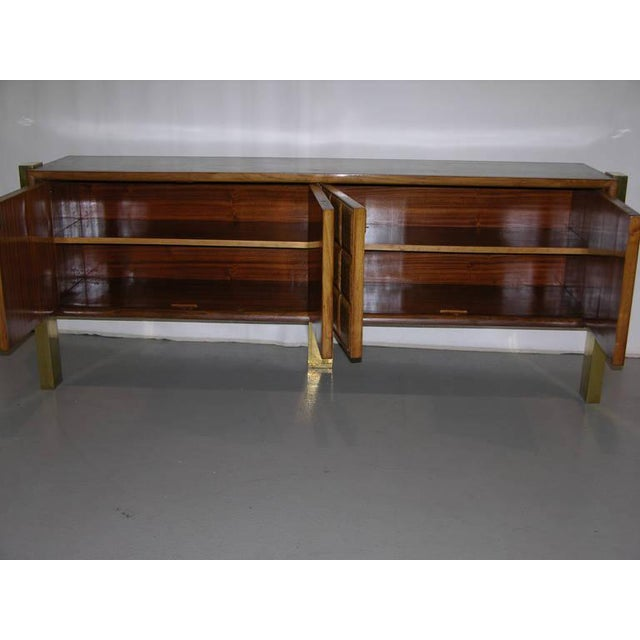 1940s Minimalist Dark & Light Wood Cabinet Sideboard on Brass Legs For Sale - Image 11 of 12