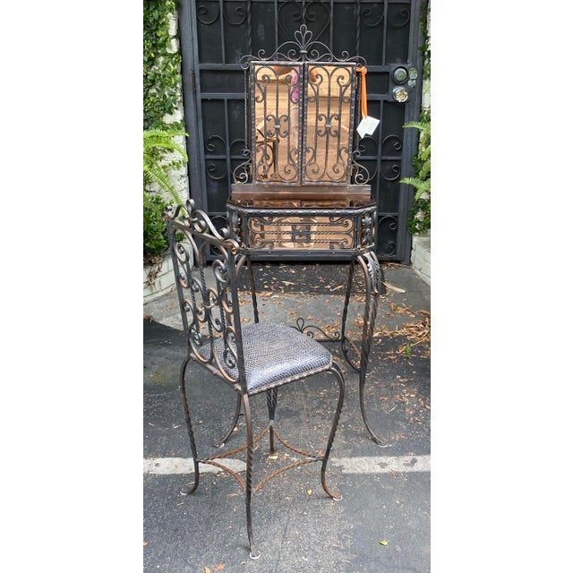 Antique Art Deco Spanish Wrought Iron Champagne Mirrored Vanity & Chair - a Pair For Sale - Image 11 of 11