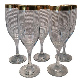 Vintage Gold Design Rimmed Crystal Wine Glasses- Set of 5