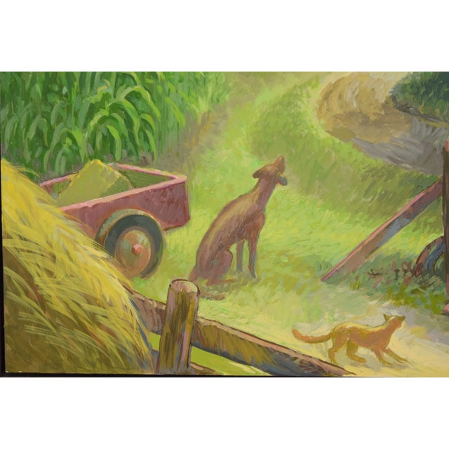 """Country Randall Berndt """"The Bachelor Farmer"""" Painting on Board For Sale - Image 3 of 9"""