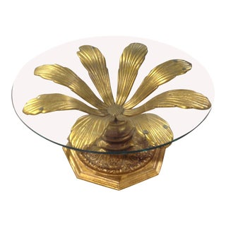 1960s Hollywood Regency Gilded Blossoming Metal Flower Cocktail Table For Sale