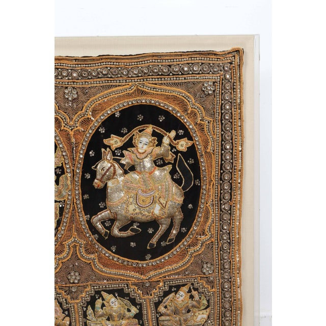 Asian Burmese Kalaga Tapestry Framed in Acrylic Box For Sale - Image 3 of 7