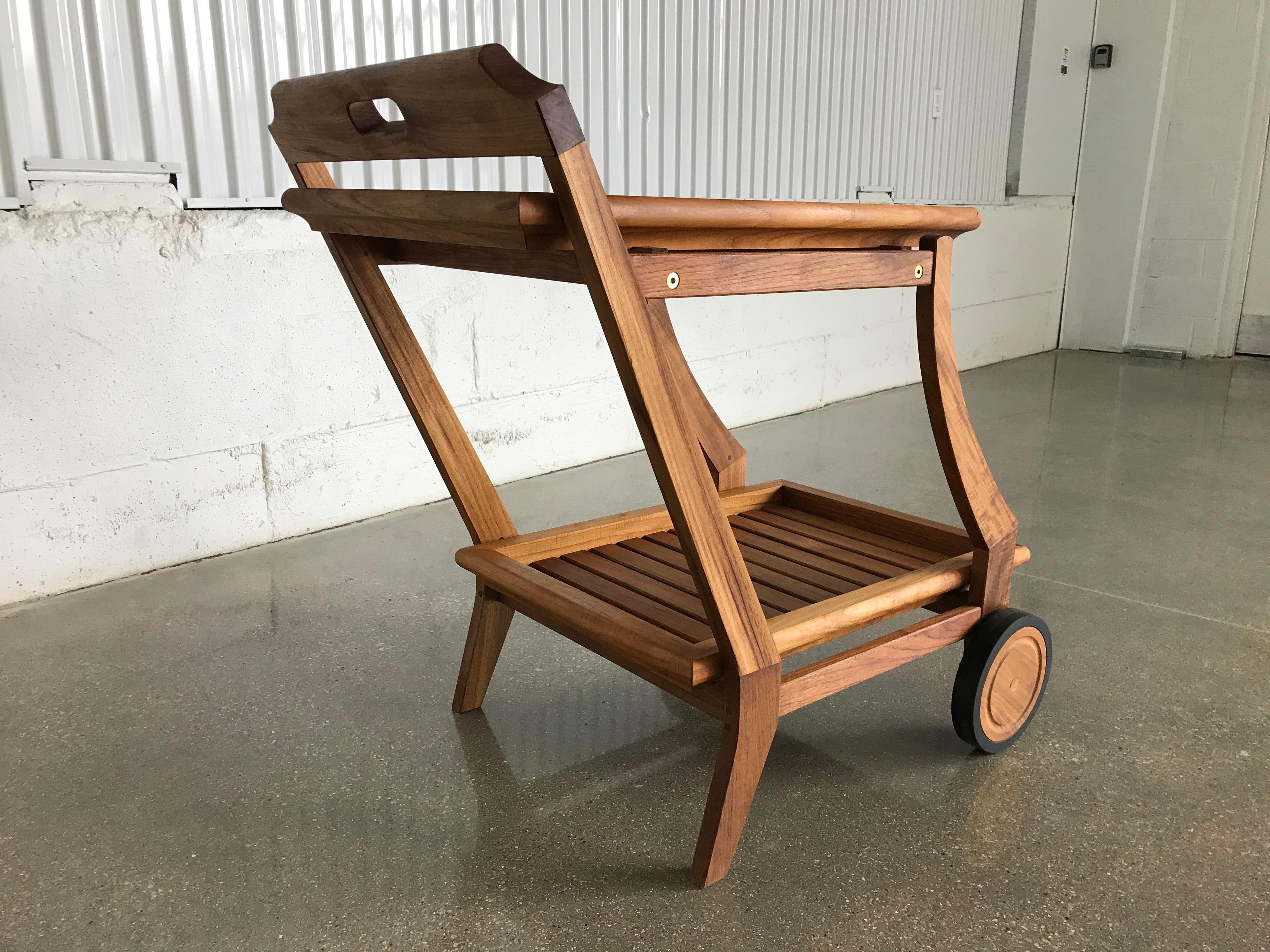 Restoration Hardware Modern Teak Bar Cart With Removable Tray Image