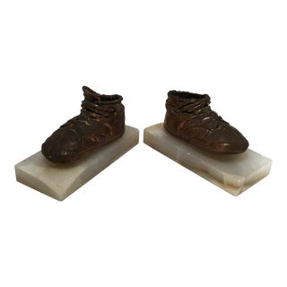 Antique Copper & Marble Baby Shoe Bookends - A Pair For Sale