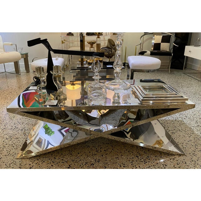 X Base Cocktail Table Polished Nickel Plated Italian Modern For Sale - Image 9 of 11