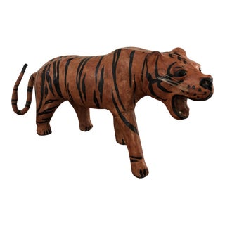 Vintage Leather Tiger Figurine Statue