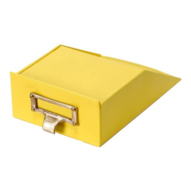 Tanker Drawer Insert Repurposed as Desktop Organizer, Refinished in Yellow For Sale