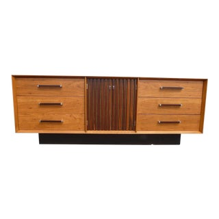1960s Mid Century Modern Lane Walnut and Rosewood Architectural Credenza For Sale