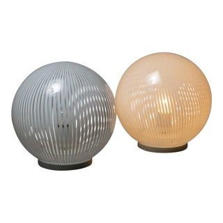 "Pair of ""Tessuto"" Table Lamps by Venini For Sale"