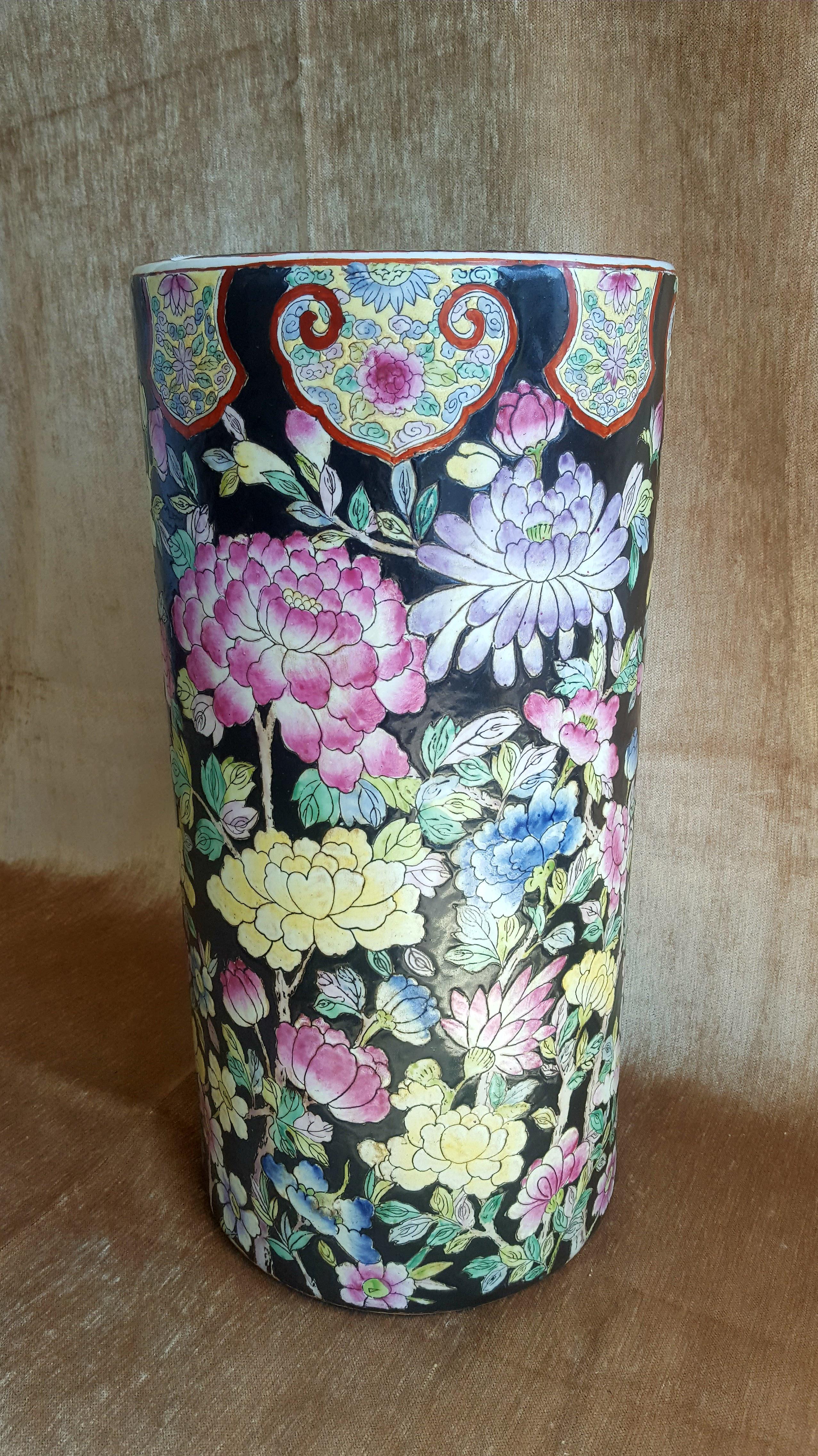 antique asian black floral chintz handpainted ceramic umbrella Ceramic Umbrella Holder