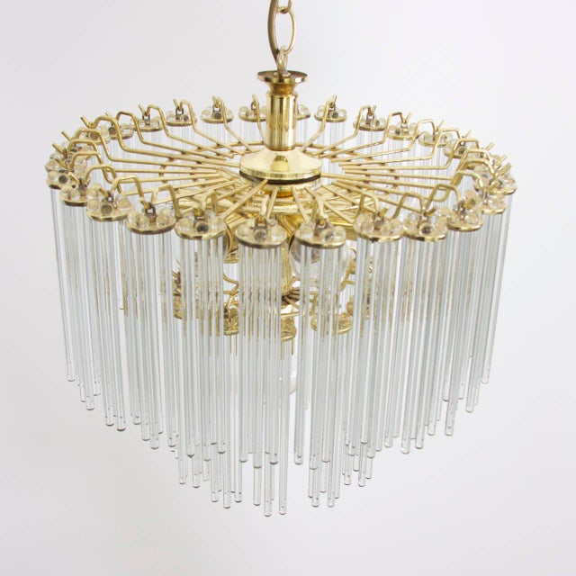Mid-Century Modern Two-Tier Glass and Brass Chandelier in the Manner of Venini For Sale - Image 3 of 7