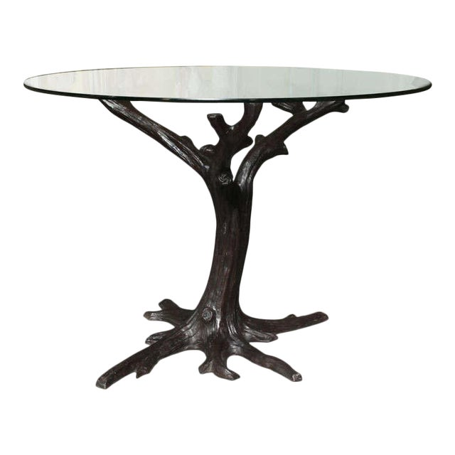 Contemporary Bronze Sculptural Tree-Trunk Dining Table Base From Thailand For Sale