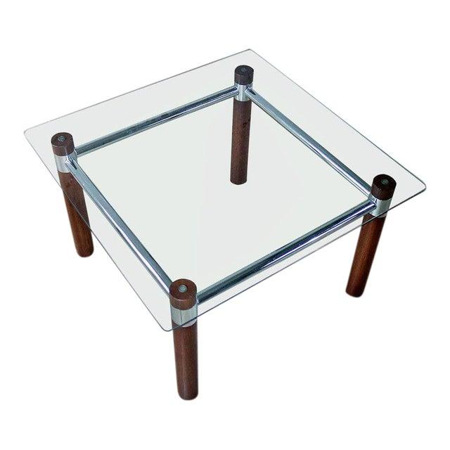 Oak Chrome Glass End Table Mid Century Modern Chairish