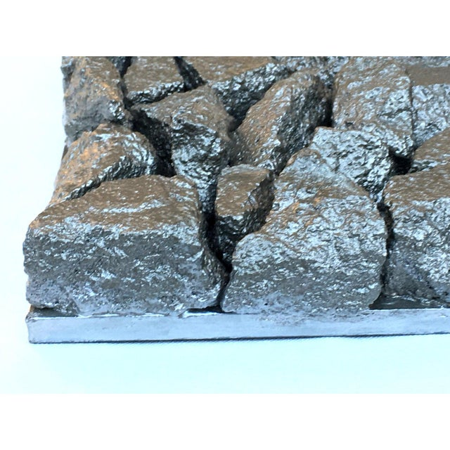"Wood Suga Lane ""Gilt Peligroso"" Brutalist Inspired Silver Rock Sculpture For Sale - Image 7 of 11"