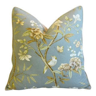"Gp & J Baker Peony Blossom & Bird Feather/Down Pillow 24"" Square For Sale"