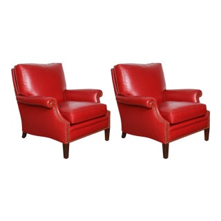 Pair of Red Leather French Club Armchairs For Sale