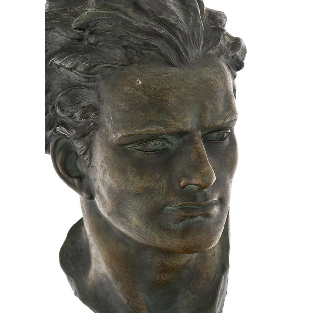 Art Deco Spelter Bust of Jean-Mermoz Sculpture For Sale - Image 4 of 10