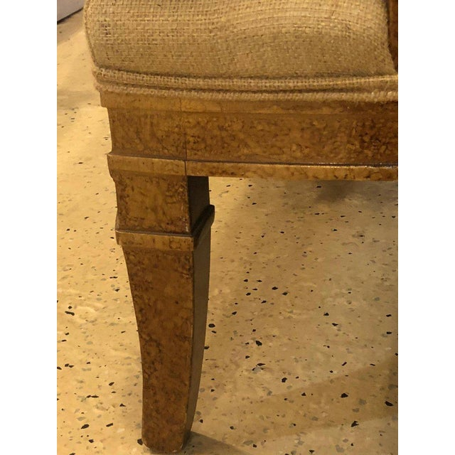 Wood Hollywood Regency Pair of Burlap Faux Marbleized Bergère or Armchairs For Sale - Image 7 of 13