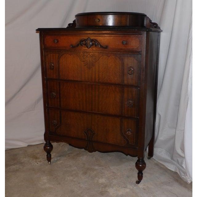 1920s antique art deco walnut dresser bureau chest of drawers demilune top image 10 of