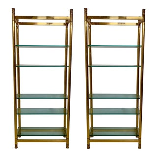 Pair of 1970s Modern Brass Etageres For Sale
