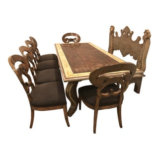 Late 20th Century Vintage Portuguese Old World Style Dining Set For Sale