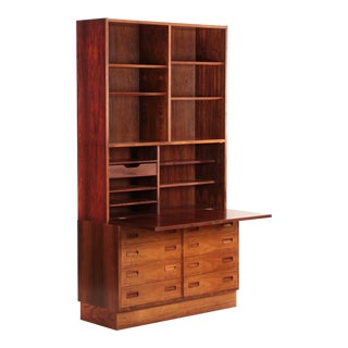 Circa 1960s Poul Hundevad Danish Mid Century Rosewood Desk over Dresser