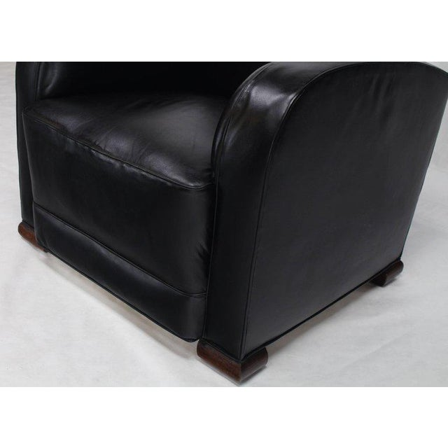 Leather Deco Style Black Leather Thick Arm Rests Lounge Tank Chairs - a Pair For Sale - Image 7 of 10