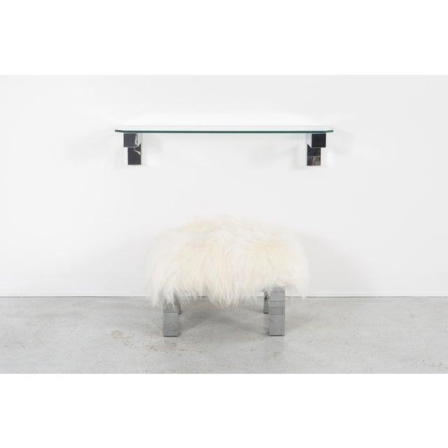 floating shelf + stool set designed by Paul Evans for Directional USA, c 1970s reupholstered in Mongolian sheepskin +...