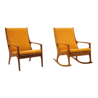 1960s Danish Modern High Back Chairs- a Pair For Sale