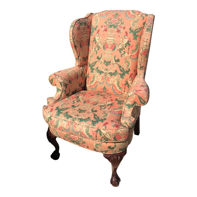 2000 - 2009 Chinoiserie Wingback Chairs - a Pair For Sale - Image 5 of 5