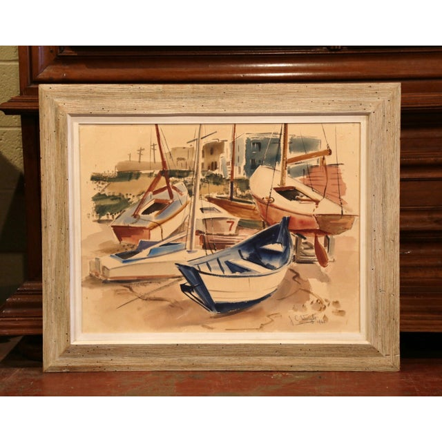 Blue Mid-Century English Boat Oil on Board Painting Signed JC Wright For Sale - Image 8 of 8